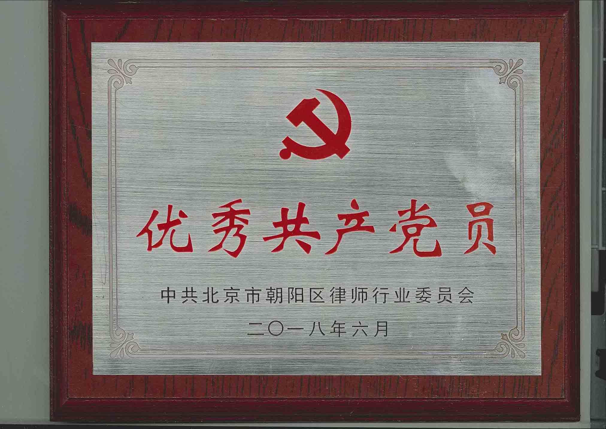优秀共产党员牌匾