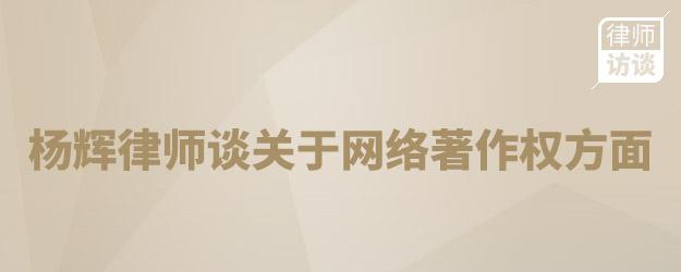 楊輝律師談關于網絡著作權方面